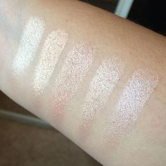 And highlighters: left to right - the balm mary loumanizer, beccaxjaclynhill champagne pop, Laura Mercier indiscretion, becca Opal and Mac soft and gentle. The only difference between Opal and champagne pop is the intense peach base of CP. when the light hits them though they look pretty much the same, and these are very heavy heavy swatches. Sheered out I can imagine they look identical. emoji #imonanobuy #maryloumanizer #becca #champagnepop #beccachampagnepop #beccaopal #lauramercier…