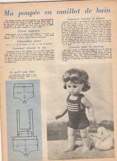 PAR AMOUR DES POUPEES :: 1964-16-08 Maillot de bain pour Lisette