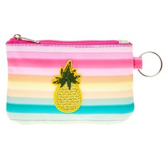 Pineapple Stripes Coin Purse | Feel the island vibes and keep all of your change in place with this pineapple coin purse with a zipper closure. It features pink to yellow to green pastel stripes and a pineapple patch in the center.