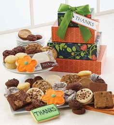 Deliver a delicious assortment of Cheryl's BEST treats in our cheerful thank you gift boxes! We've included our buttercream frosted cut-out cookies, assorted gourmet cookies, assorted signature brownies, chocolate truffle cookies, mini muffins, snack size double chocolate crunchy cookies and a hand decorated crunchy sugar cookie. Thank You Cookies, Cut Out Cookies, Gourmet Cookies, Gluten Free Cookies, Cookie Frosting, Buttercream Frosting, Party In A Box, Mini Muffins