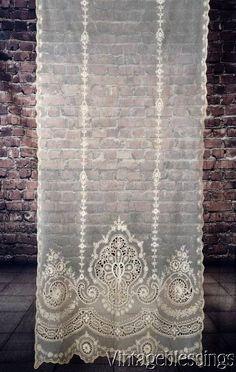 "At Auction Now: Gorgeous! ANTIQUE Victorian French Net Tambour Lace Curtain 87x35"" BRIDAL VEIL www.Vintageblessings.com"