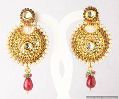 Indian Bollywood Designer Fashion Jewelry Ethnic Stylish Pearl Earrings Set #VGJewel #DropDangle