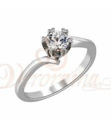 Μονόπετρo δαχτυλίδι Κ18 λευκόχρυσο με διαμάντι κοπής brilliant - MBR_052