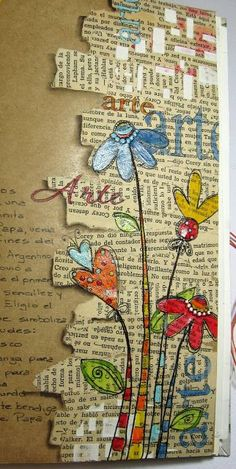 Love the combo of background text and artwork on this journal page. Found on fotomemorias-scrapbooking.blogspot.com.ar