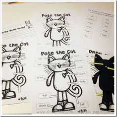 Pete the Cat reading, writing, and math activities.Great idea for Mikaela.Favourite book with subjects. Kindergarten Language Arts, Literacy Activities, Kindergarten Activities, Classroom Themes, Primary Classroom, School Themes, School Ideas, Cat Reading, Cat Activity