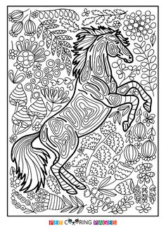Free printable horse coloring page available for download. Simple and detailed versions for adults and kids.