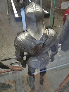 Beautiful complete armour with some later additions; the sallet doesn't belong to the original suit. Medieval Knight, Medieval Armor, Medieval Fantasy, Fantasy Armor, Fantasy Weapons, Larp, Renaissance, Landsknecht, Knight Armor