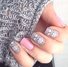#nail #unhas #unha #nails #unhasdecoradas #nailart #gorgeous #fashion #stylish #lindo #cool #cute #fofo #grey #gray #cinza #branco #white #pink #rosa