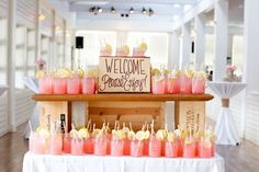 """""""Welcome"""" drinks in mason jars"""