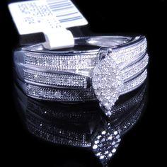Ladies .25 Carat Real Diamond Marquis Bridal Ring White Gold Fin Engagement Band