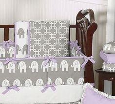 Lilia's Big Girl Room with yellow accents--gray and purple nursery   Gray White Purple Elephant Unisex Baby BOY Girl Crib Bedding SET Made ...
