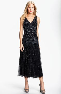 Long Beaded Mesh Dress
