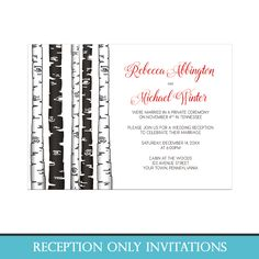 Modern Winter Reception Only invitations with a rustic touch, featuring a birch tree illustration in an alternating monochrome black and white pattern, and the couples' names are printed in red for a splash of color. This monochrome tree design makes these post wedding reception invitations perfect for Winter wedding celebrations.
