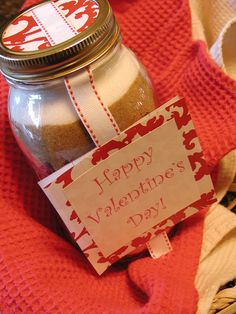 Cowboy Cookies in a jar for Valentine's Day