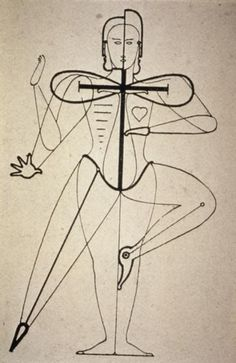 "ca. 1921--German--Oskar Schlemmer--means of transforming the human body by the use of costume--the metaphysical forms of Expression--result: ""dematerialization""--from ""Man and Art Figure."""