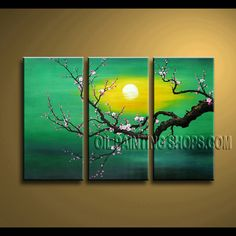 Huge Contemporary Wall Art Oil Painting On Canvas For Bed Room plum blossom. This 3 panels canvas wall art is hand painted by Bo Yi Art Studio, instock - $128. To see more, visit OilPaintingShops.com