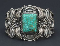 Silver & Turquoise Bracelet by Kirk Smith (Navajo). Kirk passed away at the age of 55  on Sept 17, 2012. He was a very talented and special artist and will be sadly missed.
