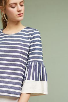 Stripe Bell-Sleeve Blouse