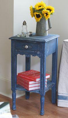 miss mustard seed's flow blue over linen white ...me & mrs. jones, memphis. Side table