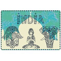 Yoga Pet Mats for Food and Water by Ambesonne, Ethnic Elephant Hamsa Hand Woman Doing Yoga Ornaments Taj Mahal Silhouette, Rectangle Non-Slip Rubber Mat for Dogs and Cats, Jade Green Cream Black >>> You can find out more details at the link of the image. (This is an affiliate link) #DogFeedingWateringSupplies