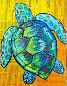painting, True Blue Turtle…mixed media, turtle painting