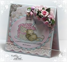 Handmade birthday card with House Mouse and cake, lace and flowers