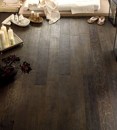 Wood look ceramic flooring...interesting idea