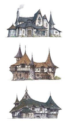 René Gruau Illustration: by René Gruau Character Design Henn Kim Bg Design, Game Design, House Design, Fantasy World, Fantasy Art, Fantasy House, Building Concept, Fantasy Landscape, Landscape Artwork