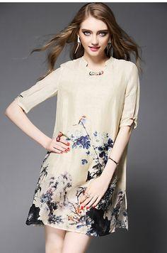 Style chinois d'été Vintage robe - dessus du genou impression robe col Mandarin moitié manches élégante de Split en vrac robe OY60799 Prix :€ 60,79 / pièce