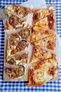 Pizza de berenjena, ricotta y sobrasada