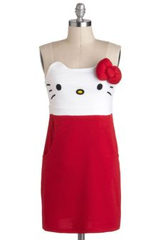 Kawaii Not? Dress, #ModCloth  Our search is at an end!  It's short, red and under one hundred dollars.  Plus, Jenny loves kitties!!!  Haha!