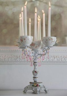 #Alice In Wonderland Wedding #whimsical wedding teacup candelabra #wonderland wedding