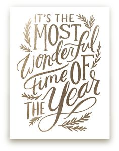 it's the most wonderful time of the year: gold-foil holiday art print