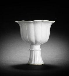A Qingbai lobed stem cup, Yuan Dynasty