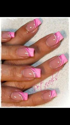 Pink french nails with art design french manicure designs, French Manicure Designs, Nail Designs Spring, Nail Art Designs, Nails Design, Spring Design, Floral Designs, Fancy Nails, Trendy Nails, Cute Nails