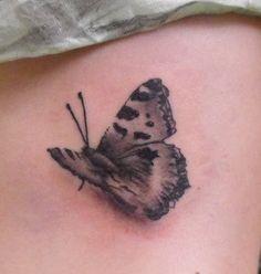 Grey Ink Butterfly 3D Tattoo