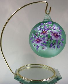 Fenton ORNAMENT Blown Ball 3 Inch EMERALD GREEN SATIN Violets * OOAK FREE #Fenton