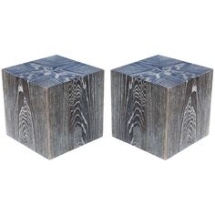 Pair of Cerused Oak Cube End Tables