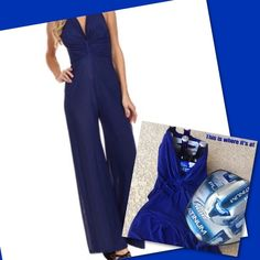 """Blue Halter Silk-Blend Jumpsuit Soft silk-blended vintage inspired jumpsuit, that's where it's at.  Breezy and comfortable with a halter top neckline.  The bodice has lovely gathers.  Look and feel fabulous.  As Sam Cooke says, """"That's where it's at pretty baby"""" 65% silk 35% polyester BellaBerry  Pants Jumpsuits & Rompers"""
