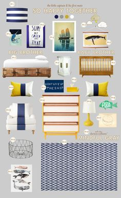 Sebastian already has a nautical/whale themed nursery, so here are some other ideas as he transitions to a big-boy room