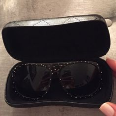 Chanel sunglasses Black Chanel sunglasses with silver scattered studs-- very lightly worn comes with a case! CHANEL Accessories Glasses