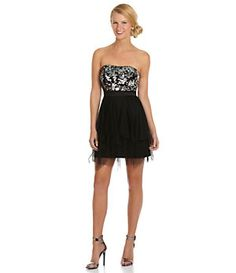 Hailey Logan Strapless Sequin-Bodice Dress   Dillard's Mobile