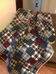 My neighbor brought me some of her late husbands flannel shirts…so I made her … – 2019 - Quilt Decor Flannel Quilts, Plaid Quilt, Wool Quilts, Baby Quilts, Scrappy Quilts, Memory Quilts, Shirt Quilts, Quilting Projects, Quilting Designs