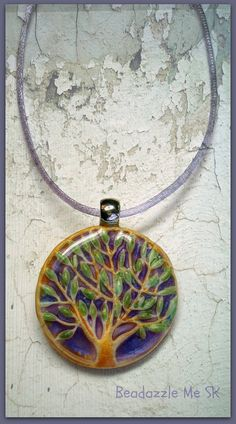 Tree of Happiness Pendant Lavender Blue polymer by BeadazzleMe, $20.00
