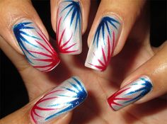 Attractive Fourth Of July Fireworks Nail Art Designs
