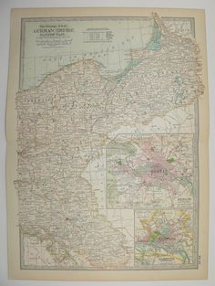 Vintage Map Germany, Eastern German Empire 1902 Antique Map, German Decor Gift, Birthday Gift, German History Map, Vintage Wall Art available from OldMapsandPrints on Etsy