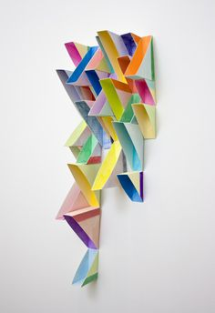 Right Triangle (Stacked) gouache, colored pencil, paper 17 x 6 x inches 2013 Wall Sculptures, Sculpture Art, Origami, Triangle Art, Cardboard Sculpture, Outdoor Wall Art, Creative Infographic, Arte Popular, Abstract Shapes