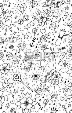 Tattoo sleeve filler doodles ideas for 2019 Doodle Tattoo, Doodle Drawings, Easy Drawings, Tattoo Drawings, Tattoo Hand, Tattoo Sleeve Filler, Sleeve Tattoos, Traditional Tattoo Filler, Traditional Tattoo Wallpaper
