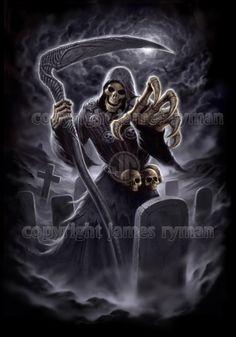Angel of Death by James Ryman Grim Reaper Art, Grim Reaper Tattoo, Dark Fantasy Art, Dark Art, Leo Tattoo Designs, Tattoo Pain Chart, Harley Davidson Art, Devian Art, Dark And Twisted