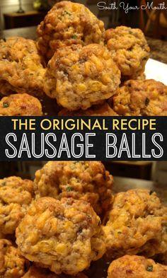 Original sausage balls - The original recipe for sausage balls with bisquick, . - Original sausage balls – The original recipe for sausage balls with bisquick, cheddar and sausage. The perfect appetizer recipe – - Yummy Appetizers, Appetizers For Party, Breakfast Appetizers, Breakfast Sausage Recipes, Cheese Appetizers, Breakfast Tailgate Food, Pork Sausage Recipes, Seafood Appetizers, Meatball Recipes